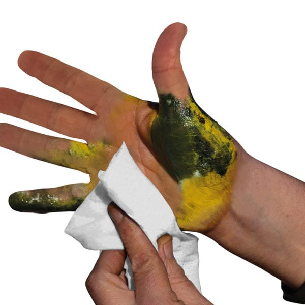 Dirty hand with Bamboo Wipe