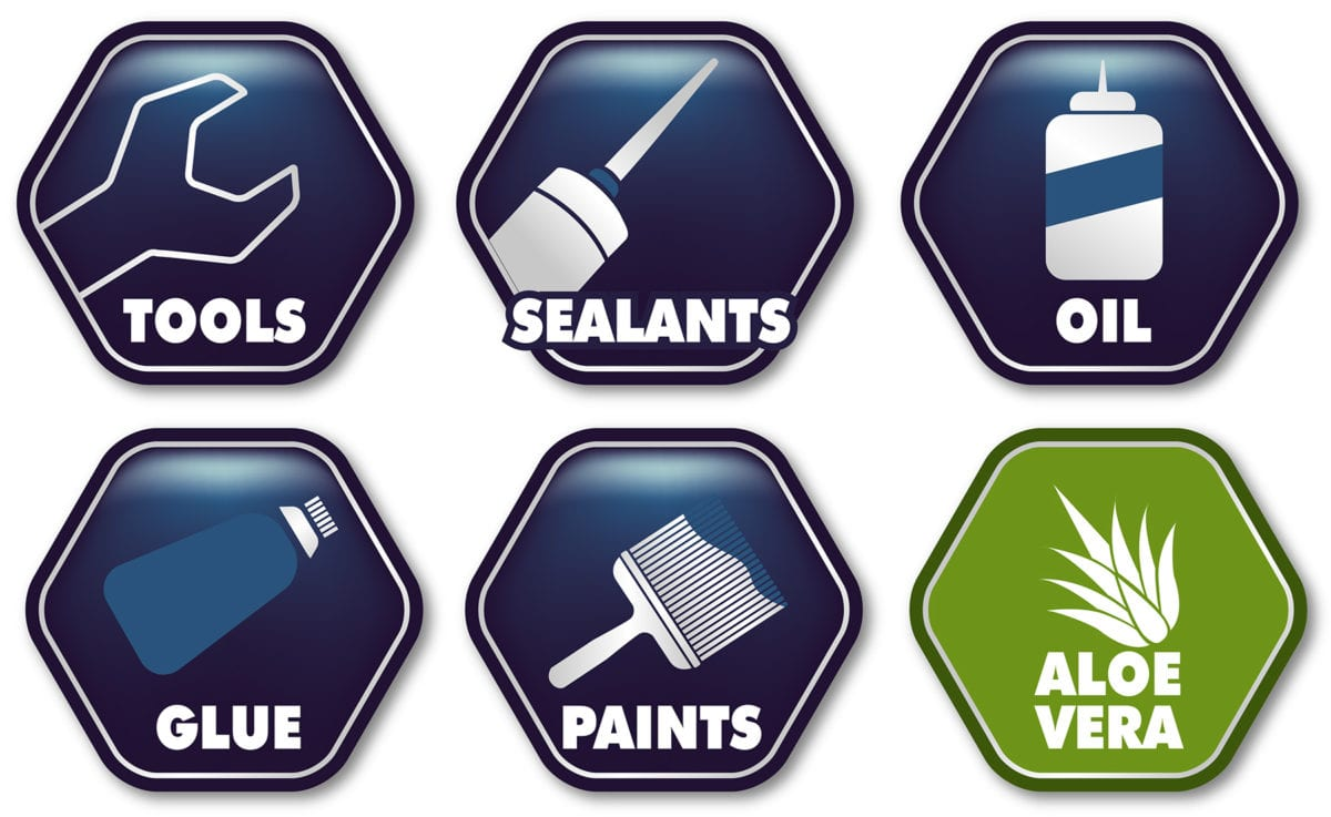 Icons showing use and properties of Dirteeze Rough & Smooth Trade Wipes