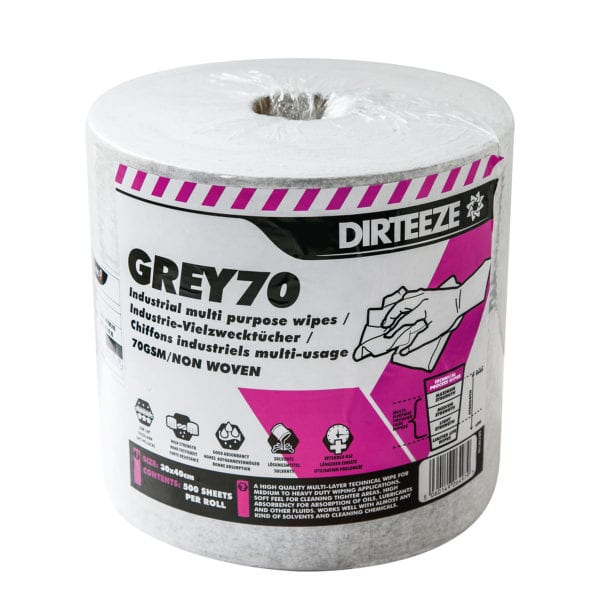 Roll of Grey70 non-woven industrial wipes