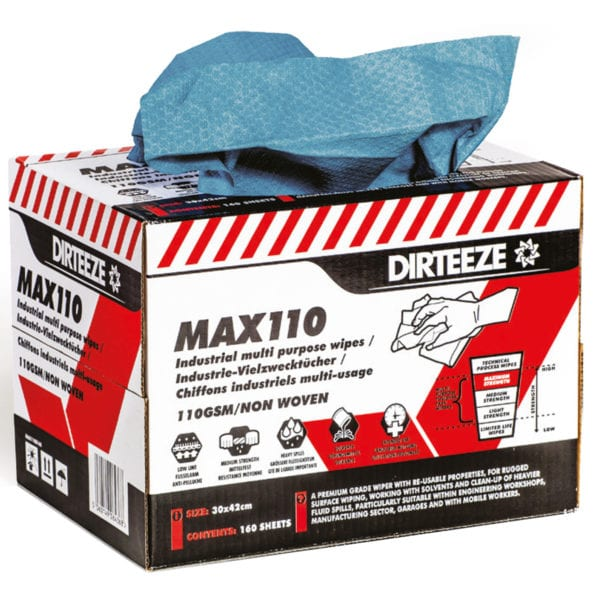 Open box of Max110 non-woven industrial wipes