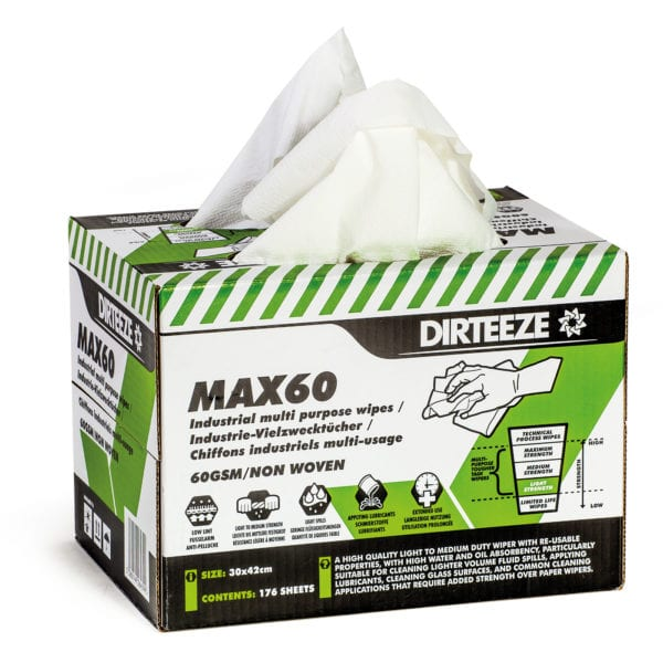 Open box of Max60 non-woven industrial wipes