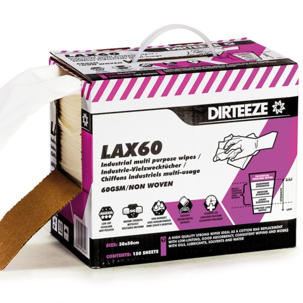 Open box of Lax60 non-woven industrial wipes