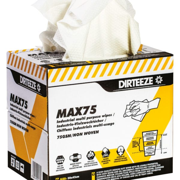 Open box of Max75 non-woven industrial wipes