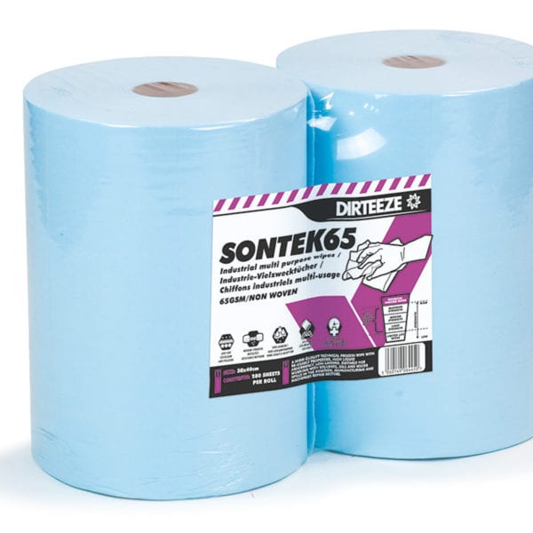 Rolls of Sontek65 non-woven industrial wipes