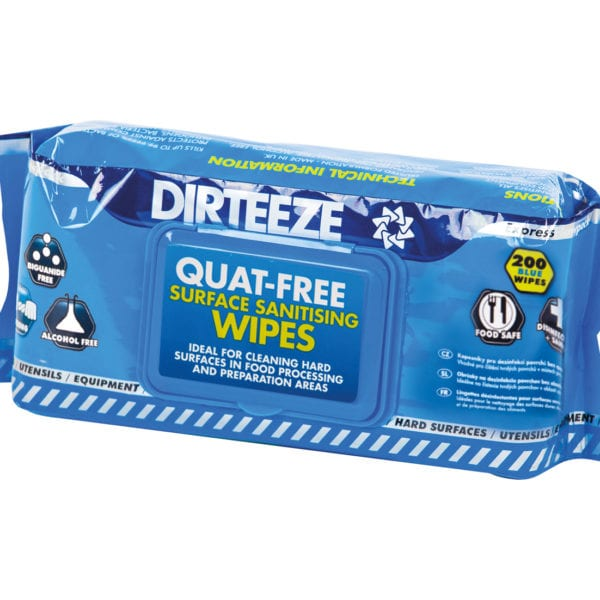 Flowpack of anti-bacterial Quat-Free Sanitising Wipes