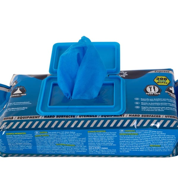 Open flow pack of anti bacterial Quat-Free Sanitising Wipes