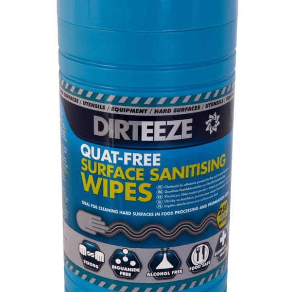 Tub of anti-bacterial Quat-Free Sanitising Wipes